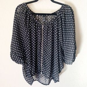 Windsor | Black White Polka Dot Zip Up Blouse S